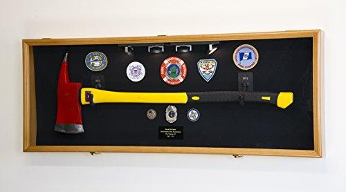 Firefighter Fireman Axe Display Case Cabinet Holder - 98% UV Lockable (Oak Wood Finish, Black Background)