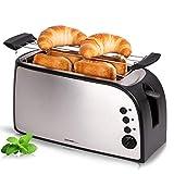 1500 Watt Toaster mit gebürsteten Edelstahl für 4 große Sandwich Toast | doppelt Isoliertes Gehäuse | extra großer Brotschlitz 25cm lang und 3,5cm breit | Abnehmbarer Brötchenaufsatz geeignet für dicke Brotscheiben, Toast, Croissant, Bagel, Brötchen ...