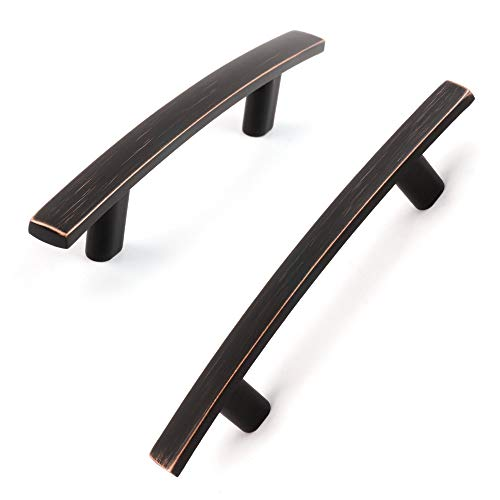Koofizo Curved Bar Cabinet Pull - Oil Rubbed Bronze Furniture Arch Handle, 3 Inch/76mm Screw Spacing, 10-Pack for Kitchen Cupboard Door, Bedroom Dresser Drawer, Bathroom Wardrobe Hardware