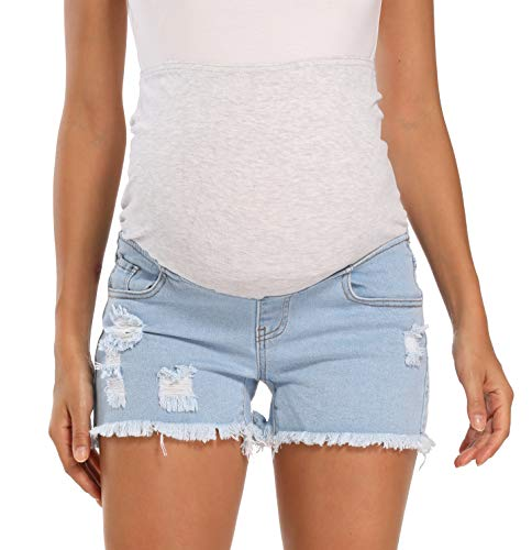 Foucome Women's Maternity Denim Shorts Over The Belly Summer Pregnancy Ripped Jean Shorts