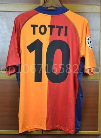 ZA Francesco Totti AS Roma Retro Soccer Trikot 2001-2002 Size XL UCL. Patch