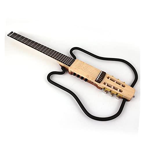 LITOSM Tragbare Gitarre Nylon-String kopflose Klassische Klassische Klassische Klassische stille elektrische Gitarre in der Effekt gebaut Reisen tragbare falt Faltbare freie Verschiffen Pocket Guitar