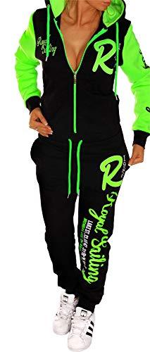 Unbekannt Jaylvis Damen Sportanzug Jogginganzug Trainingsanzug Fitness Anzug Zip Hausanzug A.Royal Sailing A.2255 Schwarz-Grün XS