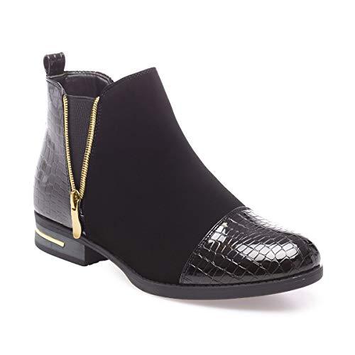 La Modeuse - Boots bi-matières avec empiècements Vernis Effet Croco sur Le Talon et sur Le Bout Arrondi