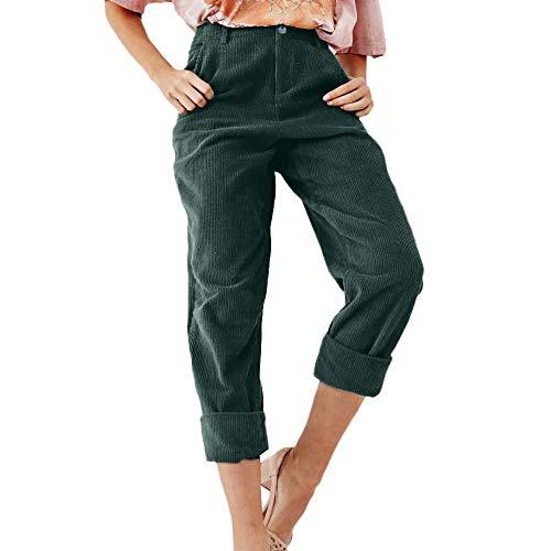 YunYoud Pantaloni da Donna Pantaloni Pantaloni - Moda da Donna Solid Velluto a Coste Bottoni a Tutta Lunghezza Pantaloni e Pantaloni svolazzanti Pantaloni alla Moda in Tinta Unita (S, Verde)