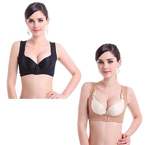 Libella Dirndl Push-Up Sexy BH Büstenhebe Stütz Büstenhalter Haltungskorrektur Abendkleider Brautkleider 1508 Schwarz + Beige XXL
