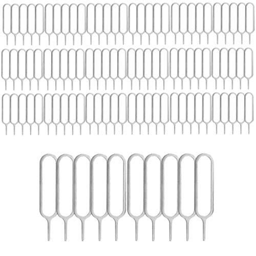 jbTec, 100 aghi per telefono SIM Pin per aprire il supporto per carte di telefono, colore argento – strumento di apertura penna strumento di ricambio