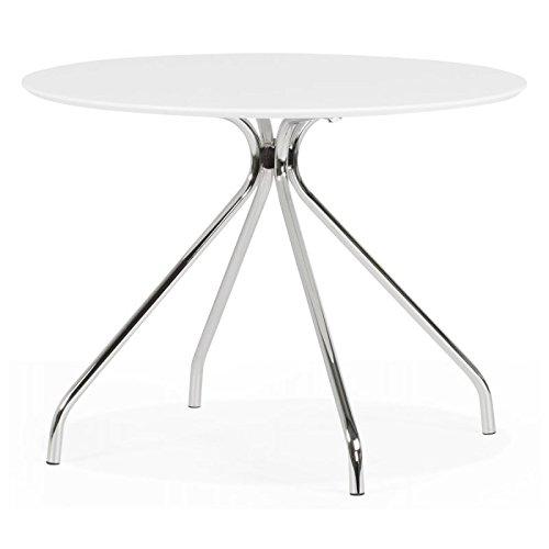 KoKoon DT00190WH Bella Table à Diner Métal Blanc 100 x 100 x 75 cm