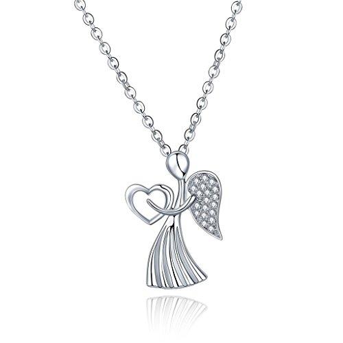 Yl gioielli in argento Sterling 925con zirconi angolo ciondolo collana, catena 45cm/45,7cm