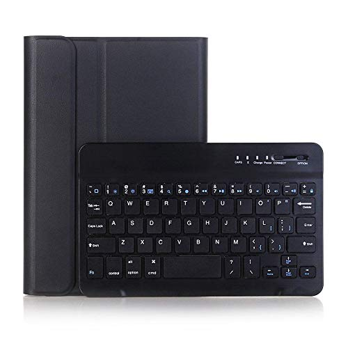 Lude Wireless Bluetooth Keyboard Case For New Ipad Mini 5 Slim Smart Folio Stand Pu Leather Cover With ap Pencil Holder+Detachable Wireless Bluetooth Keyboard (Color : Black)