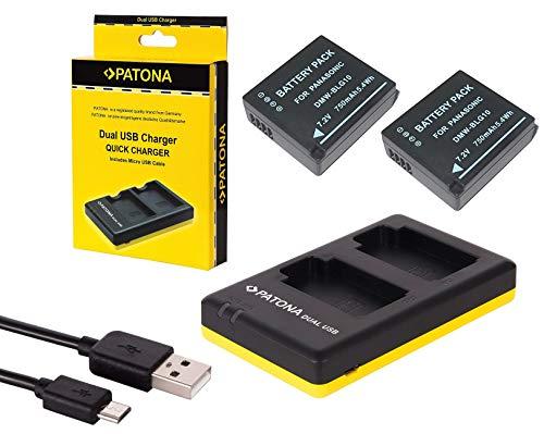 4in1-SET für die Panasonic Lumix DMC GX80 mit 2 Akkus für Panasonic BLG10 + Dual Ladegerät (lädt 2 Akkus gleichzeitig) inkl. Displaypad