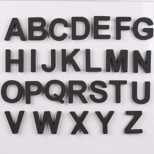 PMSMT 26 Piezas Negro EVA Letras mayúsculas magnéticas Pegatinas de Nevera Conjunto 2020 Nuevas Letras magnéticas de Silicona Suave Pizarra Pegatina Alfabeto