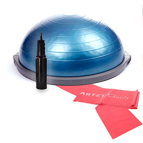 Bosu Balance Trainer Balance Trainer Pro Ø 65 cm inkl. Pumpe und ARTZT Vitality Übungsband 2,5 m (rot) 65 cm