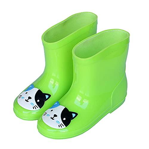 LXHK Botas de Lluvia Niño Animadas Unisex Niños Niñas, Botas de Agua Lluvia Impermeable Antideslizante Caucho de PVC Rain Boots, Zapatos de Goma Bebe con Suela Duradera Ultrasuave,Verde,EU25.5