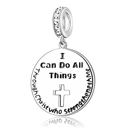 I Can Do all Things Through Christ who Strengthen Me 925 Sterling Silver Charms for Bracelet Religious Jewelry for Women