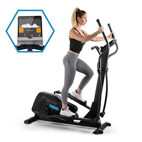 CapitalSports Helix Pro Bicicleta elíptica - Bluetooth, Ordenador Entrenamiento, App Kinomap, 12 programas, Volante de inercia, SilentBelt, Ruedas de Transporte, Peso Usuario: 130 kg