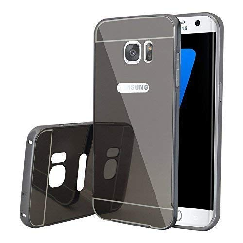 VCOMP ® hoes Bumper aluminium metaal 2 in 1 deksel spiegel achter en Cardre Régide voor Samsung Galaxy S7 Edge G935F/G935FD/S7 Edge (Cdma) G935, space gray