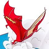 3D Geburtstagskarte - Feuerspeiender Drache auf Wolke -