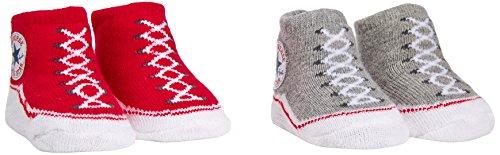 Converse 2 Pack Booties Chaussettes, Rouge Red/Vintage Grey Heather, Unique (Taille Fabricant: 0-6 Months) Bébé Fille