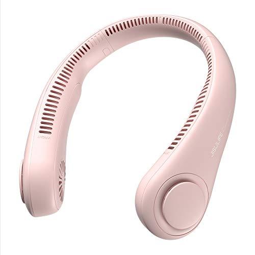 JISULIFE Ventilador de Cuello Portátil, 4000 mAh Ventilador Cuello USB Recargable con, Ventilador de Cuello Colgante Sin Hojas con 3 Velocidades-Rosa