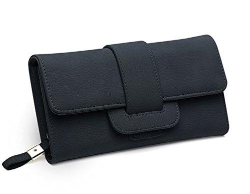 DNFC Geldbörse Damen Portemonnaie Lang Portmonee Elegant Clutch Handtasche Groß Geldbeutel PU Leder Geldtasche mit Reißverschluss und Druckknopf für Frauen (Schwarz)