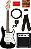 Fender Squier 3/4 Size Kids Mini Strat Electric Guitar - Black Bundle with Amplifier, Instrument Cable, Tuner, Strap, Picks, Fender Play...