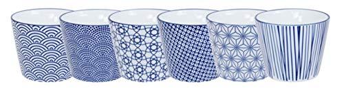 TOKYO design studio Kaffeetasse Set Verschiedene Designs – Nippon Blue – 6 Stück – 180ML