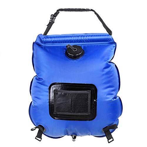 Wassertasche 20L Outdoor Camping Wandern Solar Dusche Warmwasserflasche Klettern Hydratation Tasche Schlauch Umschaltbare Duschdüse Tragbare Outdoor Bathing,Blau