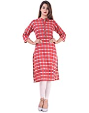Chichi Indian Women's Checks Cotton Kurti Top