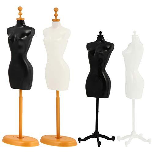 EXCEART Busto di manichino da donna a forma di vestito da 4 pezzi, con supporto di base per la cucitura delle sartorie, per esporre gioielli, nero e bianco (stile misto)