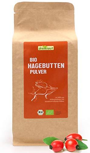 Polvo orgánico de escaramujo de dreikraut – 1 Kg- cosecha silvestre de la EU Calidad de frescura, 100% de escaramujo orgánico a entero