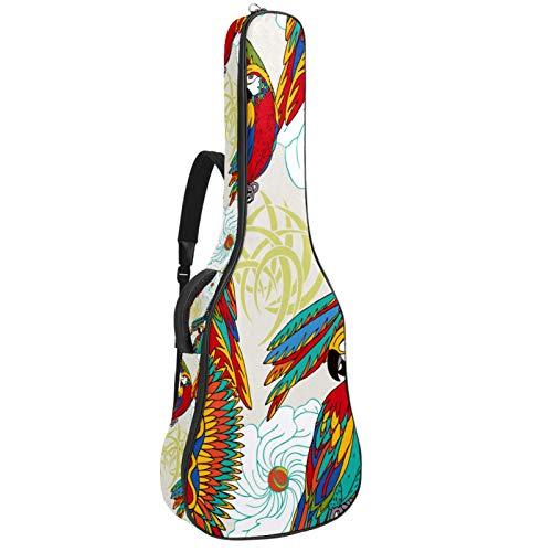 Bolsa para guitarra con diseño de Fénix y flor acolchada para guitarra, tamaño completo, impermeable, con asa de transporte para guitarras acústicas, clásicas y eléctricas