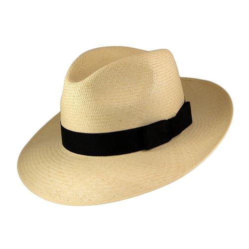 Village Hats Chapeau Fedora Panama à Bord Rabattable Beige avec Bandeau Noir Olney - Beige - 59