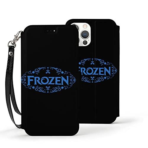 Nueey Fro-Zen A-P-L-E - Funda básica para iPhone 12 con ranura para tarjeta de piel para niña, color negro
