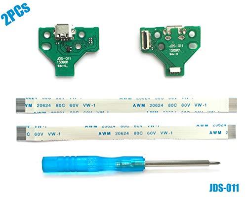 2PCs JDS-011 USB Ladebuchse mit Flexkabel für PS4 Controller, Replacement Anschluss Platine Adapter, Reparatur Part Ladegerät Module Port, Battery Charging Board für Playstation DualShock