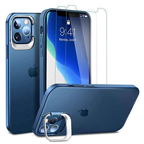 of ulak glass screen protectors ULAK Compatible for iPhone 12/iPhone 12 Pro Case with Stand 2 Packs Screen Protector, Slim Fit TPU Protective Anti-Scratch Case with Kickstand Designed for iPhone 12/12 ProCover (6.1 inch), Blue