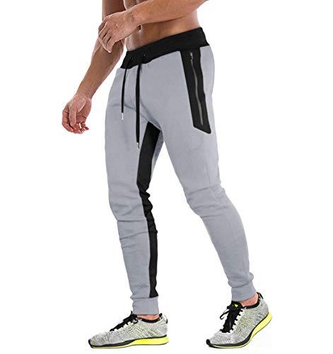 KEFITEVD Trainingshose Herren Lang Baumwolle Jogginghose Männer mit Taschen Sommer Figurbetonte Sweathose Modisch Freizeithose Sport Casual Hose Hellgrau 32