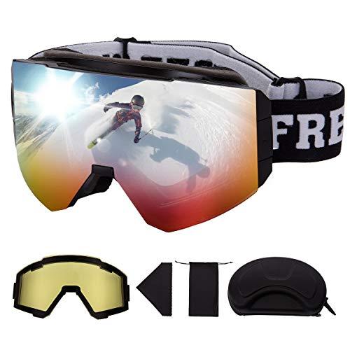 FREE SOLDIER OTG Gafas de Esqui para Hombres Y Mujeres Gafas de Snowboard con Diferentes Formas Y Lentes Magnéticos Desmontables (Rojo 19.2% VLT/Amarillo 82.5% VLT)