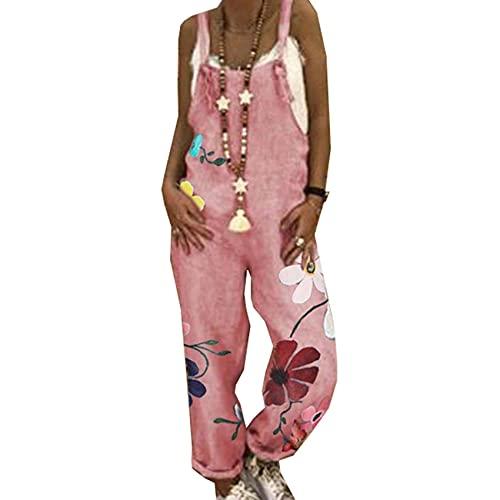 WJANYHN Pantalones De Tirantes Camisola con Estampado De Margaritas Grandes Casuales De Moda para Mujer