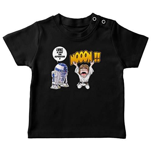 T-Shirt bébé Noir Parodie Star Wars - Luke Skywalker et R2-D2 - Luke Life Episode V : Un Robot.ménager !! (T-Shirt de qualité Premium de Taille 18 Mois - imprimé en France)