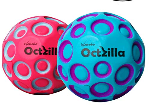 Waboba Octzilla Outdoor Bouncing Ball 2 Pack Toy Set | Playground Balls for Kids | 2 Bounce Balls | Play Dodge Throw Skip Bouncing Balls (Assorted Colors)