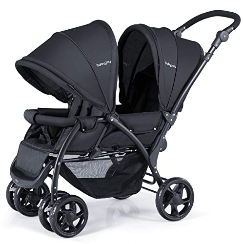 BABY JOY Double Baby Stroller, Foldable Double Seat Tandem Stroller with Adjustable Backrest, Push Handle and Footrest, Lockable Wheels, 5 Points Safety Belts (Black)