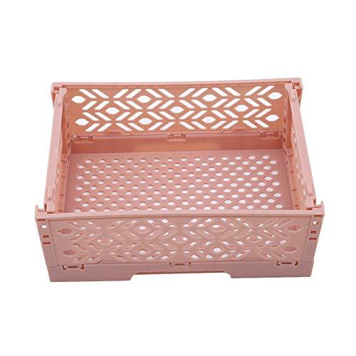 Ellepigy Kunststoff Faltbarer Schreibtisch Aufbewahrungskoffer Behälterkorb Große Zusammenklappbare Kiste Kasten Faltbar (Rosa)
