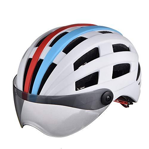 HKRSTSXJ Con Gafas de equitación de una Sola Pieza Casco de la Bicicleta Hombres y Mujeres Transpirable Esmerilado Luminosa Casco Casco Patinador (Color : White Blue)