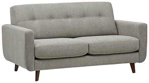 Marchio Amazon -Rivet, divano trapuntato modello Sloane, stile mid-century moderno, larghezza 163 cm, colore pietra