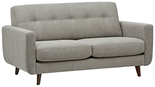 Amazon Brand – Rivet Sloane Mid-Century Modern Sofa with Tufted Back, 64.2'W, Pebble