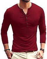 YTD Mens Casual Slim Fit Basic Henley Long Sleeve Fashion T-Shirt XXL Wine Red