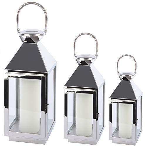 Bingo-Shop Laterne 3er Set XXL Gartenlaterne Metall Windlicht Laternen Kerzenhalter Set Kerzenleuchter F39