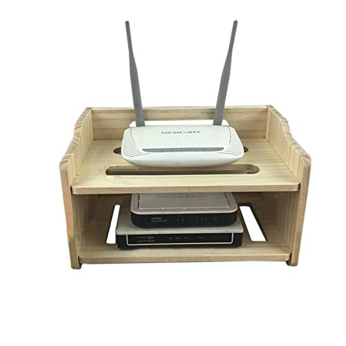 JCNFA Planken 2 Lagen Set Top Box Rack Wandmontage WIFI Router Plank, Kabelgoot, Satelliet Ontvanger, DVR Plank 11.81 * 7.08 * 6.69in Wood Color