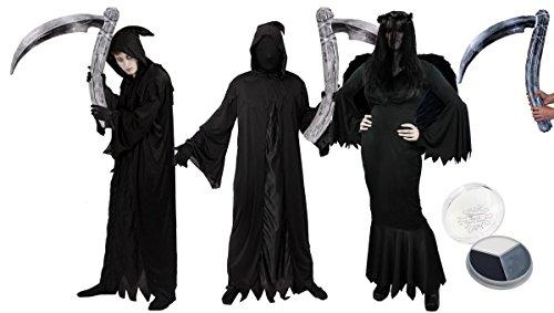Disfraz para hombre de la muerte de adulto  Disfraz de Halloween  bata negra + capucha + guantes, ciego inflable + pintura facial (XLARGE)